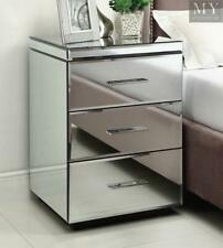RIO Mirrored Bedside Table Chest Nightstand 3 Drawer - Mirror Furniture