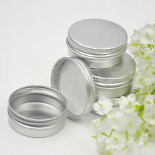 2Pc Screw Thread Small Round Lip Balm Metal Box for Travel Portable Container