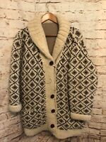 Vintage Blanket Coat Wool Cable Knit Extremely Heavy Warm Soft Mens Women's