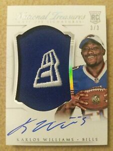 2015 National Treasures Karlos Williams #'d 3/3 Hats Off 1/1 New Era Patch Auto
