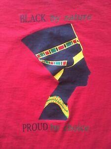 "VINTAGE 1980s ""BLACK BY NATURE PROUD BY CHOICE"" SHIRT vtg rap hip hop african"