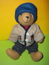 """NWT Berkeley Designs Teddy Bear Plush Wearing Blue Hat Winter Sweater 10"""""""