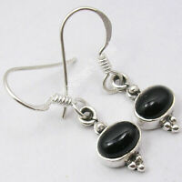 925 Sterling Silver BLACK ONYX Oval Shape 2.0 tcw STONE New ART Earrings 1.1""