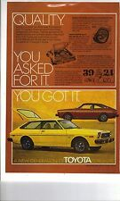 Original 1976 Toyota Corolla Magazine Ad - Quality