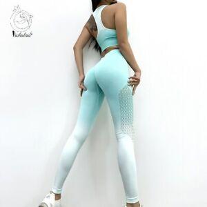 Ombre Seamless 2 Piece Set Women Suit Gym Workout Clothes Sport Bra Fitness