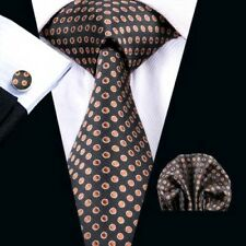 100% Pure Silk Neck Tie Cufflink & Handkerchief Set Brown with Orange Dot Design