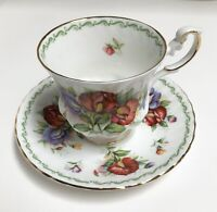 Rosina China Co. Queen's Fine Bone China Special Flowers Sweet Pea Cup Saucer