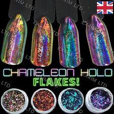 CHAMELEON HOLOGRAPHIC FLAKES Peacock Multi Unicorn Chrome Powder Color Nails UK