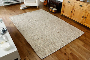 Beige Cream Braided Modern Handwoven Pebbled Wool Durrie Rugs 80x150cm CLEARANCE