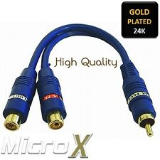 Premium GOLD Cable Adapter RCA male plug to 2x RCA female Socket Plug Phono