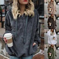 Womens Ladies Long Sleeve Winter Warm Hoodies Sweatshirt Coat Jumper Outwear GG
