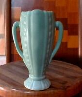 Vintage Art Pottery matte green blue vase cactus art deco double handle