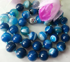 Natural 12mm Blue Striped Agate Onyx Gemstone Round Bead Necklace 20""