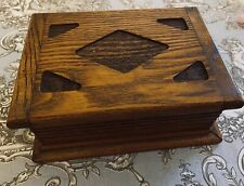 Antique Vintage Solid Oak Wood Musical Box Jewellery Storage 1930s Wooden Boxes