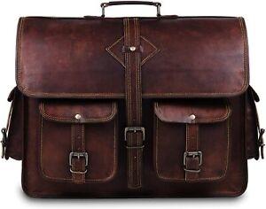 Handmade Leather Briefcase Laptop Messenger Bag Brown Shoulder Bag Men's Women's