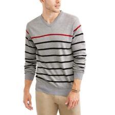 Effect Men's XXL Big V-Neck Stripe Sweater Grey New 2.99 Shipping