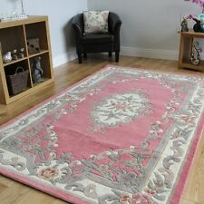 Quality Aubusson Traditional 100% Wool Rug Pink in 150 x 240 cm (5ft x 8ft)