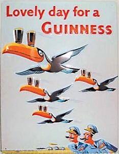 Guinness Flying Toucans Embossed Steel Sign 300mm x 200mm (hi)