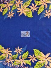 "TIARE FLOWER BLUE BY TRENDTEX FABRICS FLEECE PRINT FABRIC 60"" WIDTH BY YARD AL"