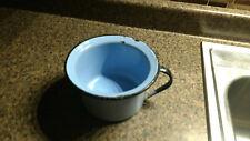 Vintage Blue Gray Enamel Chamber Pot SMALL Antique Metalware Porcelain