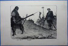 Lithographie-Henri Desbarbieux-Qui vive ?-France-Guerre 14 18
