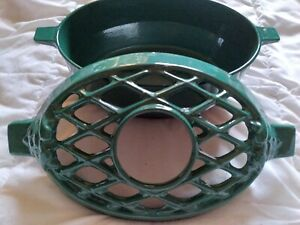 John Wright Cast Iron Wood Stove Humidifier Steamer Porcelain Coated Green Chip