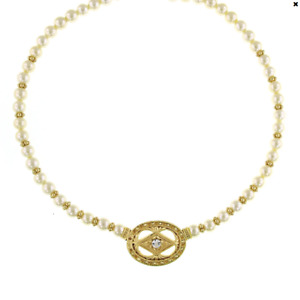 1928 Jewelry Gold-Tone Costume Pearl and Crystal Pendant Necklace 16 In Adj
