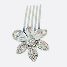 Small Flower Hair Comb Hairpin use Swarovski Crystal Bridal Wedding Silver 4-13