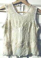VTG 70s Carol Horns Habitat Womens Medium Ivory Beaded Silk Blouse Zipper Boho