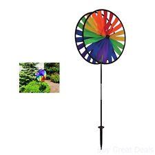 Wind Spinner Windmill Pinwheel Triple Wheel Yard Lawn Garden Decor Colorful Art