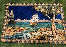 "Vtg Italian Silk Tapestry Huge 70""x48"" Wall hanging Rug  Beautiful Ship Ocean"
