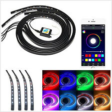 4 Pcs 7-Color RGB LED Car Off-Road Underglow Chassis Light Strip APP Control Kit