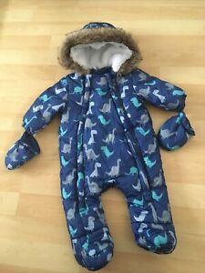 Baby Boys F&F Tesco Blue Dinosaur Fleece Lined Snowsuit Pramsuit Up To 3 months