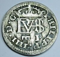 1627 Spanish Silver 1/2 Reales Old Antique 1600's Colonial Pirate Treasure Coin