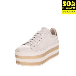 GEORGE J. LOVE Leather Sneakers EU 38 UK 5 US 8 Flatform Metallic Two Tone