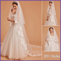 White Ivory Cathedral Wedding Veil Lace Applique Edged Bridal Veil Accessories