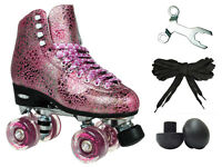 Epic Sparkle Elite Pink Silver Metallic High-Top Quad Roller Skates + Toe Plugs