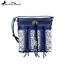 Montana West Floral Embroidery Concho Collection Crossbody Bag Navy