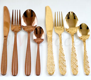 4-24 PCS Stainless Steel Stylish Copper Golden Cutlery Sets Dining Knives Spoons
