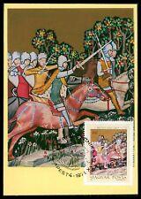 La Hongrie MK 1971 Peintures chrétiennes art Chevaux Chevalier Maximum Card MC cm cz85