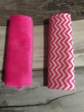 Baby Car Seat  Strap Covers -  Pink Chevron - Reversible