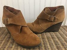 Lucky Brand Sumarah Suede Brown Wedge Ankle Boots Size 9 Women Bootie Winter