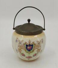 More details for vintage ceramic biscuit barrel with epns lid