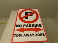"18x12"" Corrugated Plastic Traffic Control Sign NO PARKING TOW AWAY ZONE Lot/20"