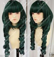 Shipping Dead Master DM Styled Cosplay Wig Black/Green Rock Shooter+free gift