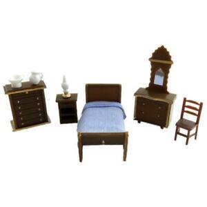 Dolls House Miniature 1:48 Scale Plastic Bedroom Furniture Set Suite