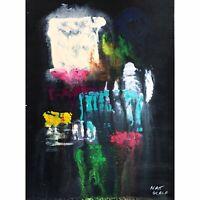 Matt Scalf Abstract ORIGINAL PAINTING 9x12 Modern Contemporary Black Neon Dark