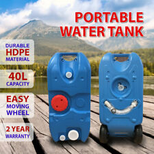 Blue 40L Portable Water Tank for Outdoor Caravan Camping Motorhome w/ Wheel