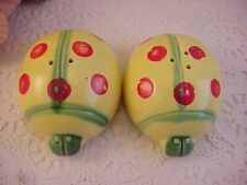 Vintage Yellow Green Red Ceramic MADE IN JAPAN Lady Bug Salt Pepper Shaker SET