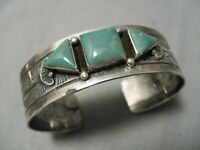 QUALITY VINTAGE NAVAJO ROYSTON TURQUOISE STERLING SILVER 3-STONE BRACELET OLD
